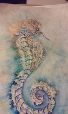 Watercolor seahorse by lorie