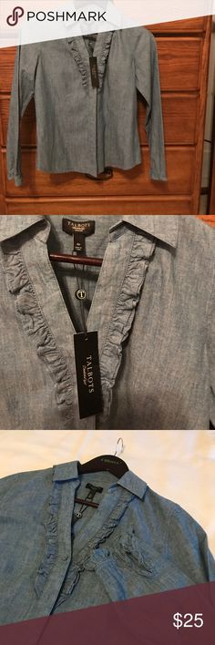 Denim Talbots brand new Blouse. Super nice Talbots quality denim Blouse. Petite fitted style. Pretty for work or a casual outing. Talbots Tops Blouses