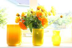 Erik Hoglund Vases in Yellow, Great September Color ~ Mary Walds Place - Marigolds in Erik Höglund vases