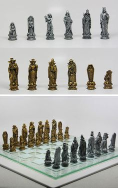 """9383 Battle of Underworld Chess Set @Pacific Trading MSRP $74.99 It's 3"""" collectible chess set casted in designer resin and hand painted. This set comes with a glass chess board.  Visit www.pacifictradingonline.com for more products"""