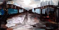 bridge - Painting,  35x70x2 cm ©2015 by vamekh kokhreidze -                                                            Abstract Art, Canvas, Abstract Art, bridge, oil, canvas, vamekh, kokkhreidze
