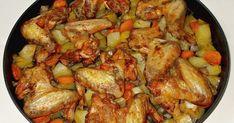 Aripioare de pui cu cartofi si morcovi la cuptor Romanian Food, Kung Pao Chicken, Meat, Ethnic Recipes