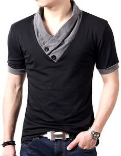 """SportsWell Men's Casual Button V-Neck T-shirt Cotton Tee Shirts Tops XS, Black. Material: 95% Cotton and 5% lycra. Attention: Asian size is smaller than US size, please refer to the size chart carefully or measure the size of similar clothes. US XS(Asian M): chest 38.5"""",length 25.1"""",shoulder 16.5"""";US S(Asian L): chest 40.1"""",length 25.9"""",shoulder 17.3"""";US M(Asian XL): chest 41.7"""",length 26.7"""",shoulder 18.1"""";US L(Asian XXL): chest 43.3"""",length 27.5"""",shoulder 18.9"""";US XL(Asian XXXL): chest..."""