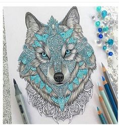 Imagen de wolf, drawing, and art
