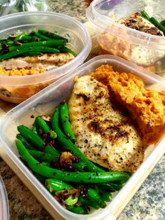 Garlic Chicken Mashed Sweet Potoatos Almond Green beans