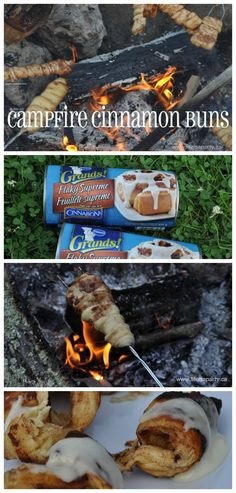 Easy Campfire Cinnamon Buns -the perfect easy treat for camping, using store bought cinnamons, your kids will LOVE these!