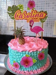 Bolos Pool Party, Pool Party Cakes, Luau Cakes, Hawaiian Cakes, Hawaiian Luau, My Birthday Cake, Luau Birthday, Birthday Parties, Flamingo Cake