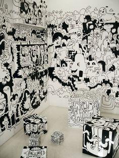 Jon Burgerman is a British artist who traverse the disciplines of contemporary art, design, illustration and entrepreneurship. Mural Art, Wall Murals, Stylo Art, Doodle Wall, Wall Drawing, Posca, Arte Pop, Art Sketchbook, Wall Collage
