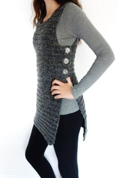 On Ravelry as Side Buttoned Tunic Crochet Pattern - Buttoned Vest/Side Close Shrug/ Ribbed Buttoned Sweater/ Sleeveless Cardigan wonder if I could convert to knitting? This buttoned tunic is great either with a casual outfit or with a sexy pair of jeans, Basic Crochet Stitches, Crochet Basics, Crochet Cardigan Pattern, Crochet Vests, Tunic Pattern, Knitting Patterns, Crochet Tunic, Crochet Top, Knit Patterns