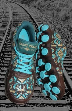 Aztec Turquoise and Brown Athletic Shoes