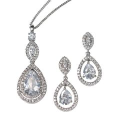 Keira Cubic Zirconia Bridal Earring and Pendant Set