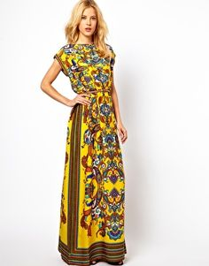 Enlarge Mango Scarf Print Belted Maxi Dress