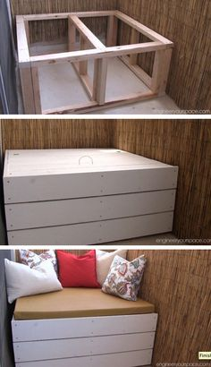 DIY outdoor storage bench - easy to customize to fit any outdoor space!