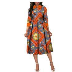 Image of African Dresses for Women Dashiki Elegant Slim Africa Clothe, three quarter sleeve calf-length zipper A-line wax cotton dress for women Size African Dresses For Women, African Attire, African Wear, African Fashion Dresses, African Women, African Print Skirt, African Print Fashion, Africa Fashion, Shirt Patterns For Women