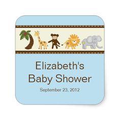Jungle Safari Animals Blue Boy Baby Shower Sticker
