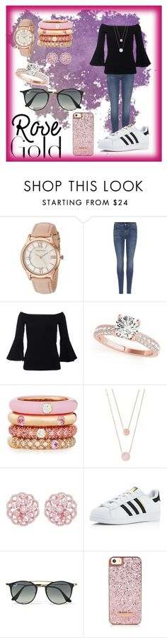 """""""Rose Gold"""" by charity-101 ❤ liked on Polyvore featuring Anne Klein, 7 For All Mankind, Adolfo Courrier, Michael Kors, adidas and Ray-Ban"""