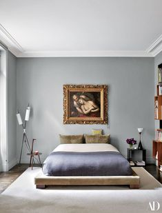 Old world art in the century interior. An ornately framed century Italian painting hangs in Stefano Pilati's Paris bedroom. Photo by Björn Wallander for Architectural Digest. Room Paint Colors, Paint Colors For Living Room, Bedroom Colors, Paris Bedroom, Bedroom Decor, Gray Bedroom, Master Bedrooms, Calm Bedroom, Bedroom Ideas