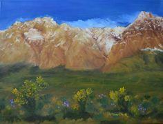 Tami Baron - Snow Capped Mountains - Oil on Canvas 18x24
