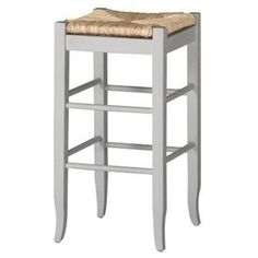 Boraam 94329 Square Rush Seat Stool, 29-Inch, White