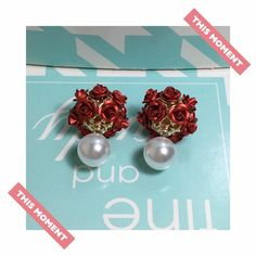 A personal favorite from my Etsy shop https://www.etsy.com/listing/387454830/red-rose-earrings-pearl-earrings-double