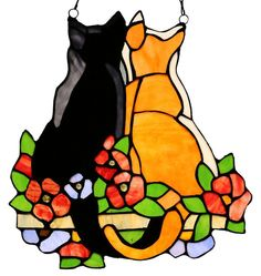 Cats in the Garden Stained Glass Window Panel | 12.5 inches