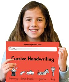 I find the name of our handwriting curriculum humorous.  Yes, she can write in cursive now - though, every page in the workbook has splotches of tears on them from her!
