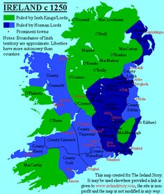 The map makes a strong distinction between Irish and Anglo-French (Norman) lands. In practice, the borders were blurred, with a lot of everyday movement of trade and persons to-and-fro. Anglo-French and Irish lords routinely signed agreements with each other against common foes. In later centuries, this interchange was to become so pronounced that it would be legislated against.