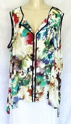 SPENSE Top Blouse Shirt V Neck Sleeveless Floral Print 2X Plus Multi color EUC #Spense #Blouse #Any