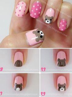 Teddy Bear and Polka Dots Nail Art Tutorial - Animal Nail Art Dot Nail Art, Polka Dot Nails, Nail Art Diy, Diy Nails, Polka Dots, How To Nail Art, Spring Nail Art, Spring Nails, Nail Art For Kids