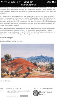 Albert Namatjira-As one of the most prominent Aboriginal artist of the time, he was a pioneer of contemporary Indigenous Australian art.