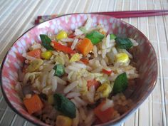 Orez stir fry cu legume 炒米饭