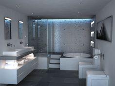 Картинки по запросу diseño de baños con closet y planos en pi… Contemporary Bathroom Designs, Bathroom Design Luxury, Home Interior Design, Dream Bathrooms, Beautiful Bathrooms, Jacuzzi Bathroom, Small Spa Bathroom, Modern House Design, Bathroom Inspiration