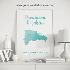 Dominican Republic map Dominic print Dominican by GrapeWanderlust
