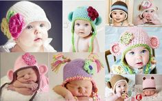 New Baby Boy Girl Crochet knit cute beanies hat variety designs at 3 sizes