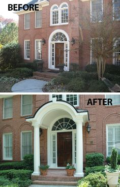 A contemporary, yet elegant approach to updating curb appeal via an arched roof line. Portico designed and built by Georgia Front Porch.