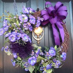 Purple Morning Glory Grapevine Wreath, Spring Wreath, Summer Wreath. Handcrafted Wreath on Etsy, $52.95