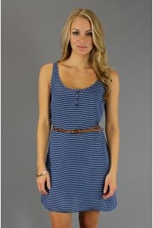 BB Dakota - Roza Dress - Available at www.shop312.com for only $39.50 - This blue striped silky sleeveless dress by BB Dakota has a henley front and comes with a brown faux leather belt.