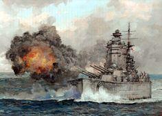 1941 HMS Rodney firing on the KMS Bismarck