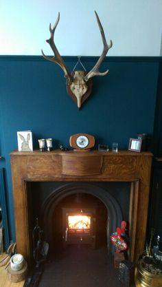 Farrow And Ball - Hague Blue, ekol clarity 5 woodburner, surround 1930s Fireplace, Victorian Fireplace, Living Room With Fireplace, Living Room Decor, Dining Room, Hague Blue, Hallway Walls, Best Paint Colors, Wood Burner