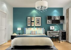 Grey and teal bedroom - love this room, so much so that I am going ...