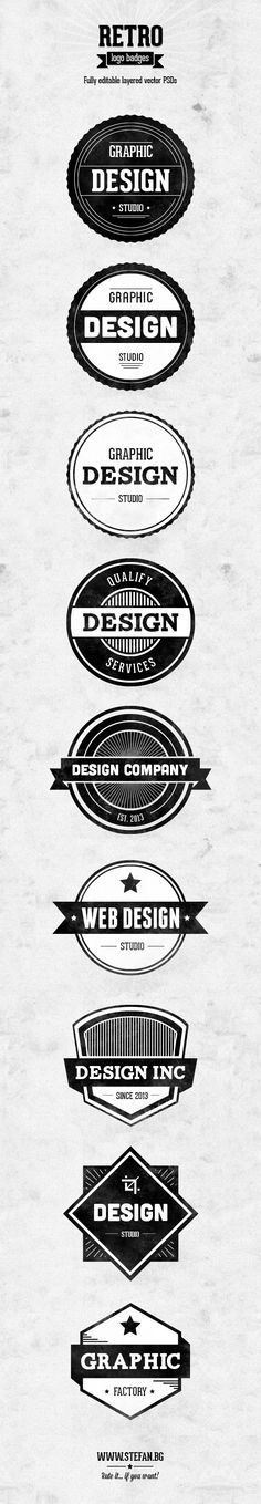 Retro Logo Badges by Stefan Parnarov, via Behance
