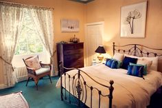 The Blue and Gold Room at Sedgeford Hall Norfolk Wedding and Event Venue - Holiday Cottages Event Venues, Wedding Venues, Gold Rooms, Home Wedding, Norfolk, Country, Bed, House, Cottages