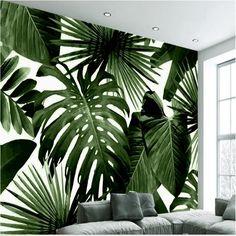 Beibehang Duże Niestandardowe Tapety Retro Tropikalnych Lasów Tropikalnych Basho Palm Leaf Salon Sypialnia TV Tle Ściany