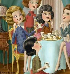 Nina de San Illustrations - A real tea party in England Tee Kunst, Animation, Art Mignon, Girls Tea Party, Creation Photo, Coffee Girl, Holly Hobbie, Tea Art, Illustrations