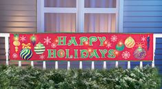 Lighted Outdoor Happy Holidays Banner