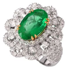 Emerald Diamond 18k Cocktail Ring | 1stdibs.com