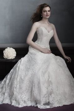 Marisa Bridal 999 All lace fitted bodice to hip classic wedding gown.