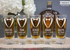 Personalized Shot Glass - (ONE) Custom Engraved Shooter Shot Glass - Personalized Groomsmen Gift - Bridal Party Gift - Wedding Gift
