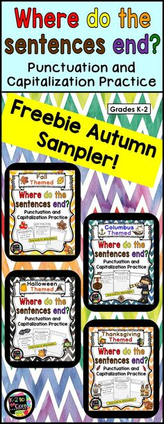 """FREE sample pages from my 4 autumn-themed """"Where do the sentences end?"""" products:  Fall, Columbus Day, Halloween, and Thanksgiving. Provide your students with capitalization and punctuation practice with these differentiated editing and writing practice s"""