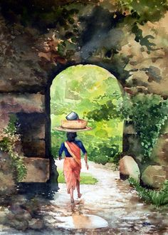 Indian Artist- Jitendra Sule's Watercolour Paintings Watercolor Landscape, Watercolor Art, Watercolour Paintings, Watercolours, Indian Women Painting, Indian Artist, Mughal Paintings, Indian Art Paintings, Rajasthani Art